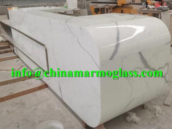 Beautiful Calacatta Artifical Marble Countertops Tabletops for Reception Tops
