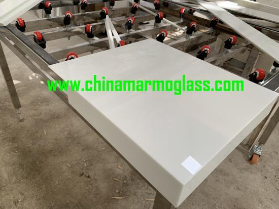 Fabricated White crystallized glass vanity top for Hotel and Villa Project