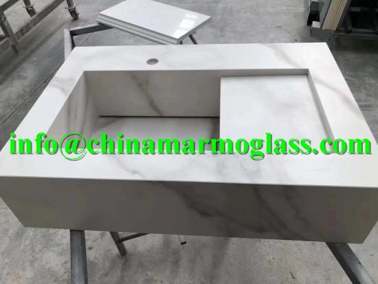 Sintered Stone and Large Format Porcelain Slabs for Washbasin Sink