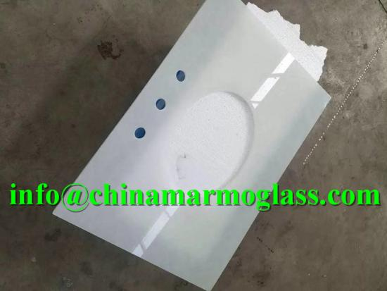 Polar White Glass2 Recycled Artificial Jade Glass Slab for Countertop