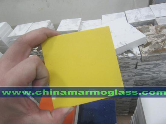 Pure Yellow Quartz Stone For Bathroom Countertops Color
