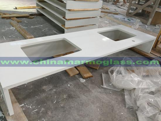 Pure White Polished Prefab Artificial Quartz Stone Kitchen Countertops Colors With Factory Cost