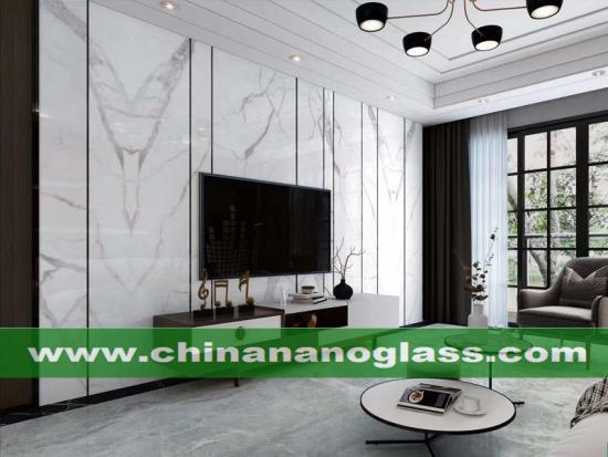 Marble look Calacatta Nano Glass Slab kitchen countertop and vanity top available