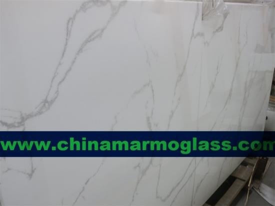 Calacatta Marmoglass Slabs for kitchen and bathroom