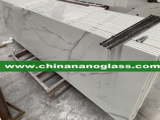 Calacatta White Crystallized Nano Glass Stone Countertops