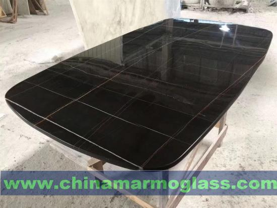 Find Out Your Desired Lauren Black Gold Marble Table tops from Tianrun Stoneglass