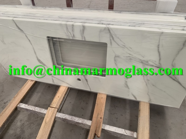 Beautiful Calacatta Artifical Marble Countertops